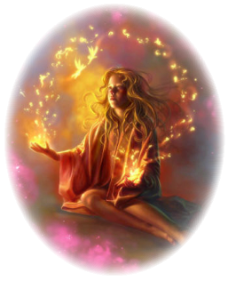 A Child Meditates As Healing Light Flows From Their Hands & Magick Surrounds Them