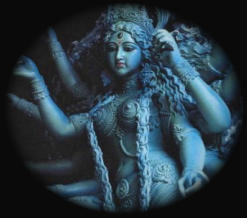 Maha Kali Statue Image in Blue For the 10 Hands Exorcism & Banishing Spell